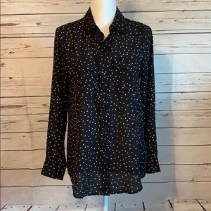 Who what wear long sleeve button down black blouse